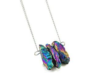 Rainbow Quartz Necklace, Raw Stone Necklace, Rainbow Crystal Jewelry, Rainbow Goth Necklace, Pastel Rainbow Gift, Pastel Goth, Pastel Grunge