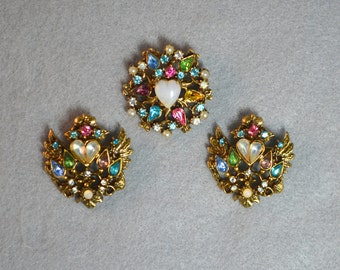 Rhinestone Heart Pin Trio Multi Color Vintage