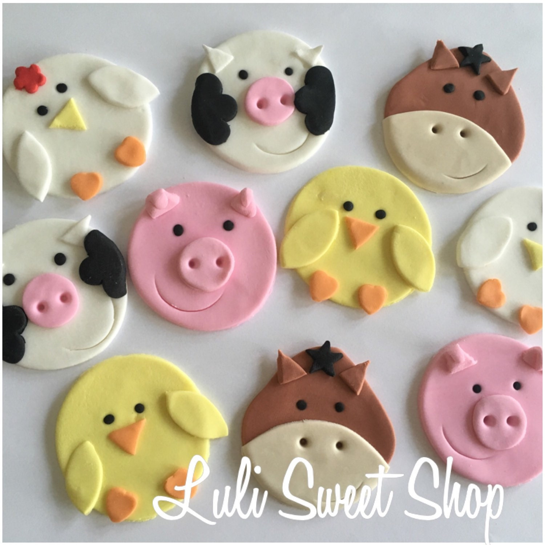 12 Edible Fondant Farm Animals cupcake toppers