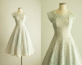 vintage 1950s dress / powder blue lace dress / extra small / Misty Valley Dress