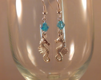 Seahorse earrings with swarovski crystals - March birthstone, nautical gift , Beach wedding something blue, aquamarine silver jewelry