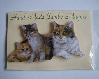 Jumbo Mother And Kittens Fridge Magnet