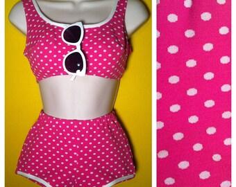 Vintage '60s pink polka dot Bikini, Size XXS / XS / 0