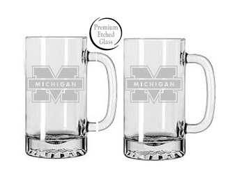 University of Michigan,ethced glasses,Etched beer mugs, football beer mugs,Customized beer mugs,Man Cave,Christmas gifts
