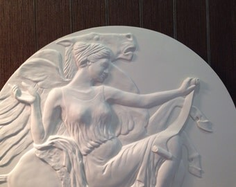 Wall relief sculpture,girl with horse wall sculpture,wall plaque,white wall sculpture