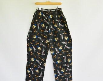 Looney Tunes Silk Pajama Pants 1996 Looney tunes Mania 100% Silk Men's Medium 32-34 Wear as Pants Has Fly Wide Elastic Waist