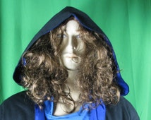 Open robe or coat for schools for wizards, LARPers, Jedi, SCA, Faire -  Black lined in Blue