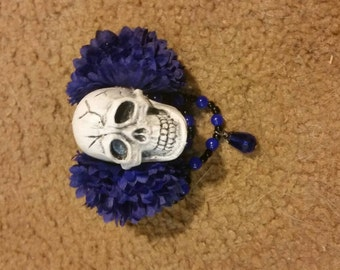 Skull with blue flowers