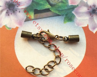 Wholesale 100pcs brass material Antiqued bronze Cord end cap terminators findings/cord closure(fit 3mm cords) with clasps and extender