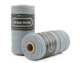 Solid Grey, Bakers Twine-240 Yards. Divine Twine, Bakers Twine. Gift Tags, Wedding, Tag Twine, Cotton, Made in USA