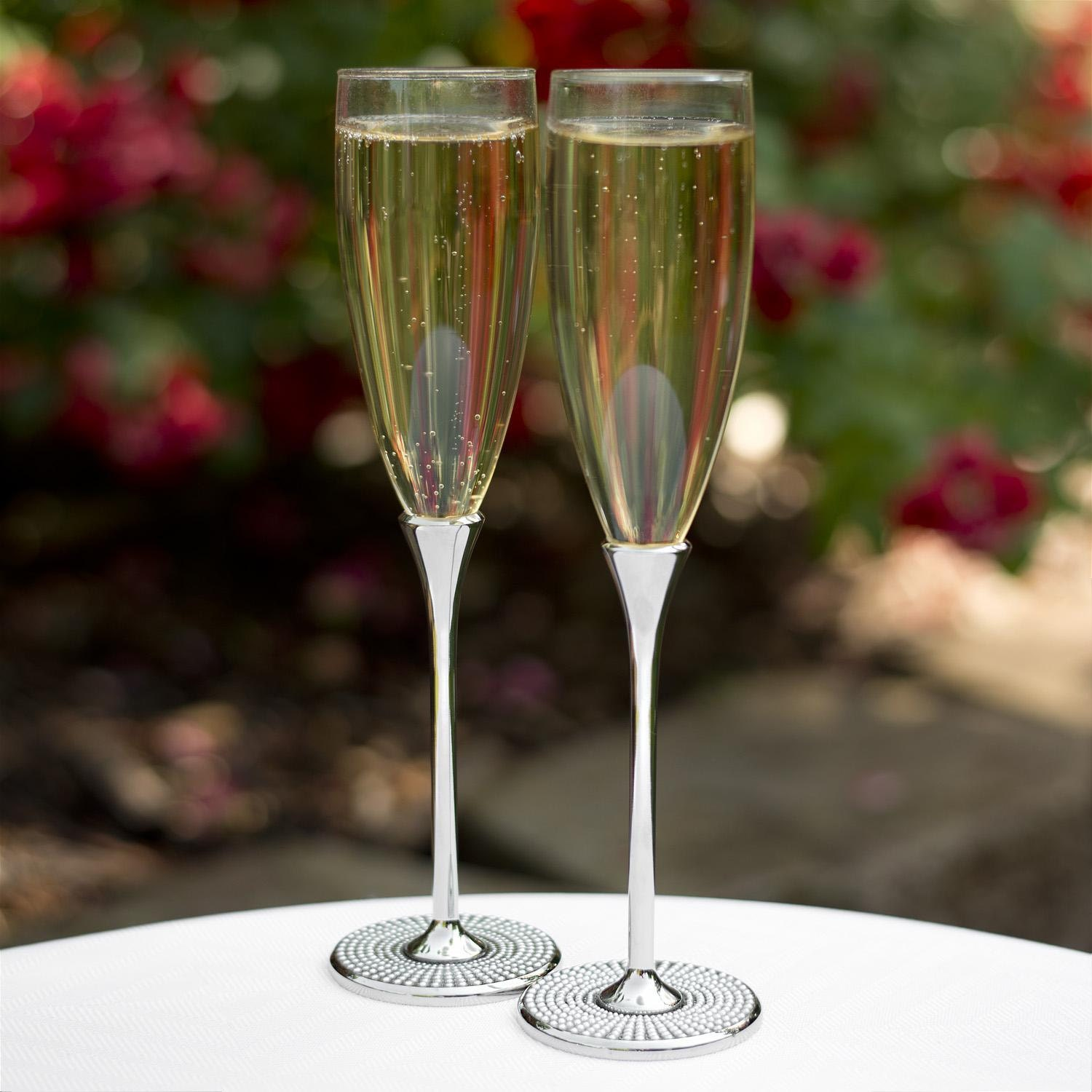 pearl champagne flutes personalized wedding champagne flutes