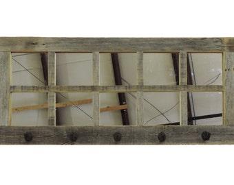 "Long (36.5"" X 18"") 10-pane Windowpane Mirror & Coat Hanger"