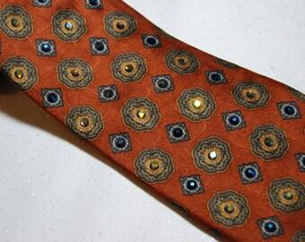Copper floral button rhinestone necktie