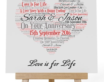 Personalised Your Anniversary Wooden Plaque & Wooden Easel Stand - Love is For Life