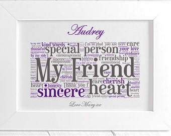 Personalised Friendship Framed Word Art - My Friend