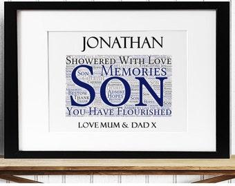 Personalised Son Framed Word Art - Memories