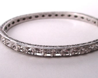 Art-Deco Sterling Silver & Clear Paste 3/16-Inch Bangle Bracelet