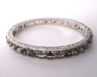 Art-Deco Sterling Silver & Paste 1/4-Inch Bangle Bracelet