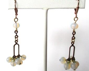 Pair of Vintage Copper Earrings With crystal moonstone beads