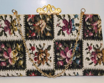 NEVER USED! 1960s 70s Red Blue Green Yellow Brown Purple White Black Pink Multi Color Floral Tapestry Rug Purse Handbag Pocketbook