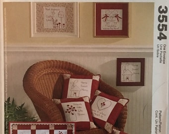 McCalls Pattern 3554 Redwork Crafts for Wall Quilt, Pillows and Wallhangings UNCUT