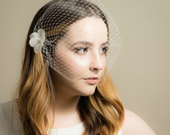 Birdcage Wedding Veil with Small Silk Crystal Flower in White or Soft Pink (Russian Netting Veil, Small Veil, Bird Cage Veil, Mini Veil)