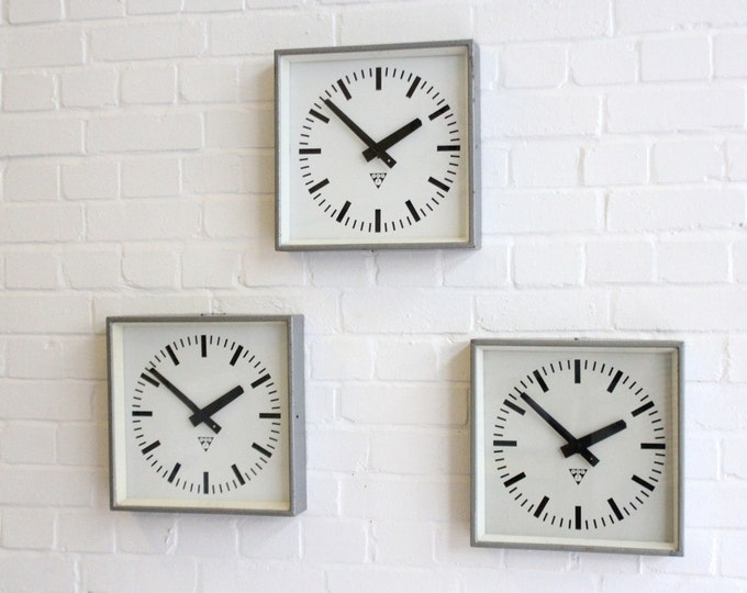 Industrial Factory Clocks By Pragotron Circa 1950's 30 Available