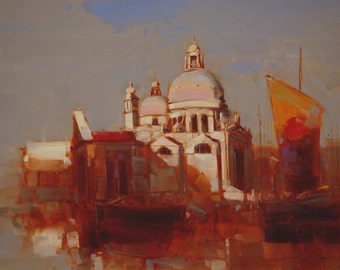 Santa Maria della Salute Venice City and Architecture Original oil Painting on Canvas Handmade Signed with Certificate of  Authenticty
