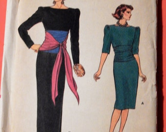 Vintage dress pattern Vogue 9380 Evening dress pattern with interesting bodice treatment Uncut Sizes 8, 10 and 12