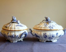 Antique dinnerware pair of tureens, blue and white tureen, Boch Frères Keramis Paon, BFK dinnerware service