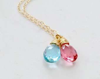 Aquamarine Gemstone Necklace Pink quartz Necklace Duo gemstone Necklace Aqua Jewelry Aquamarine Necklace 14K Gold Filled march Birthstone