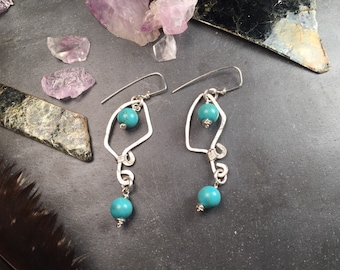Turquoise and Hammered Sterling Silver Dangle Earring