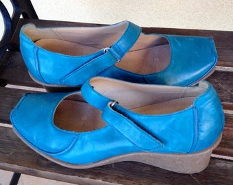 Ladies Platform Wedge Shoes Blue Size 9, Ladies Designer Clarks Active Air Mary Jane Wedge Shoes - Bright Aqua Blue Wedges - Blue Mary J