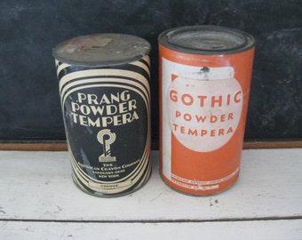 Prang & Gothic Brands Tempera Paint Powder Tins American Crayon Company Vintage