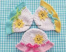 HAPPY SUN HAT Crochet Pattern - Baby Sun Hat pattern Cotton Sun Hat Pattern Summer Baby Hat Pattern Childs Sun hat 5 sizes 0 - 3 yrs Usa Pdf