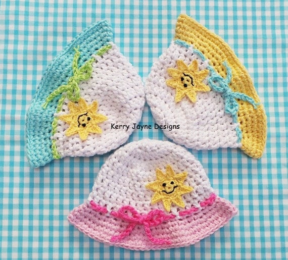 Free Crochet Newborn Sun Hat Pattern : HAPPY SUN HAT Crochet Pattern Baby Sun Hat pattern Cotton