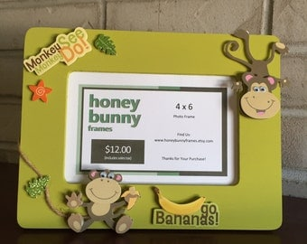 Hand Crafted 4 x 6 Picture Frame - Little Monkey
