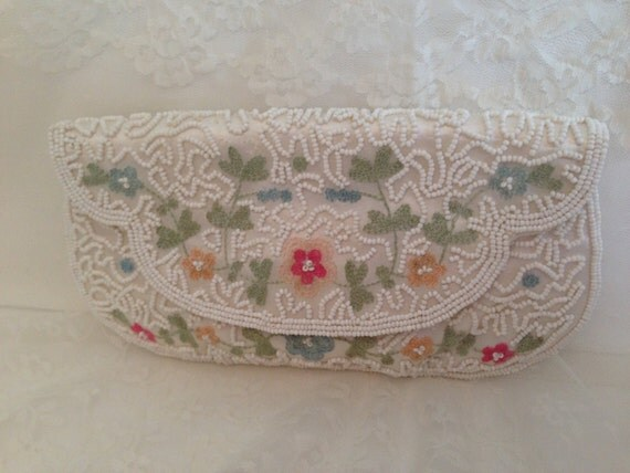 White Beaded Clutch Handbag Purse with Pretty Embroidered Flowers Bridal