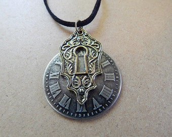 Clockface Keyhole Necklace