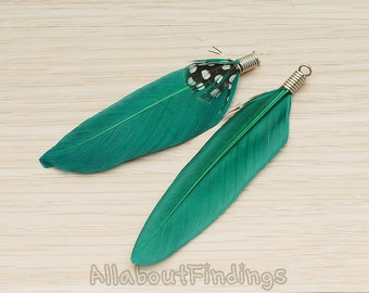 F004-GREEN // Green Colored Simple Feather Pendant, 2 Pc