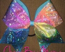 Bright Tie Dye Patterned Cheer Bow