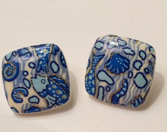 Blue Floral Clip on Earrings