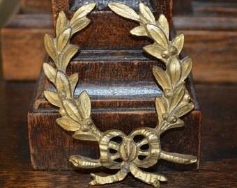 Antique French Bronze Ormolu Small Laurel Wreath Bow Pediment Hardware Trim Mount
