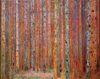 """Gustav-klimt-tannenwald, 11 x 14"""" cotton canvas art print. wood. forest"""