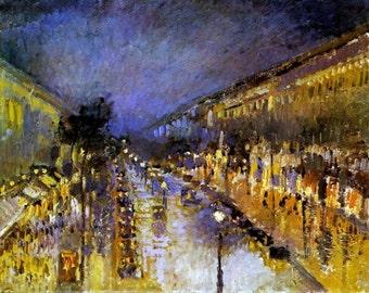 by Emile Pissarro-Camille Boulevard-Montmartre at night sun 11x14 art print