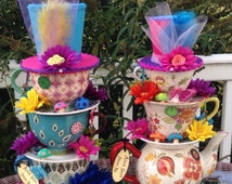 Pair of Teapot/Teacup Centerpieces w/ Mushrooms, Butterflies & Hats (#2) - Mad Hatter Tea Party, Alice in Wonderland Birthday, Baby Shower