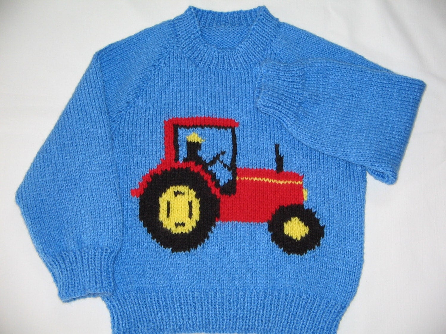Knitting Pattern Tractor Jumper : Hand Knitted Tractor Jumper Chest 23/59cm