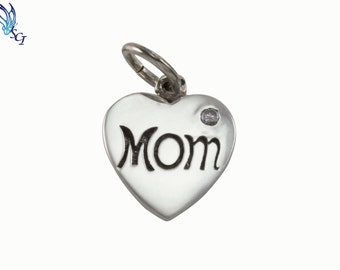 Sterling Silver Mom Heart With Crystal Charm, Mom Heart Pendant, Sterling Heart Charm, Mother's Day Gift, Gift For Mom, Mom Charm, CREN317