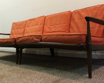 Mid -Century Danish Modern Walnut Two Piece Sectional Sofa on Spindle Legs