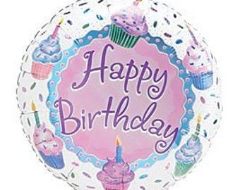 Pastel Cupcake themed 18 inch mylar/foil (1) per pkg